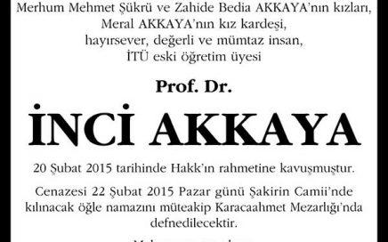 Prof. Dr. İNCİ AKKAYA