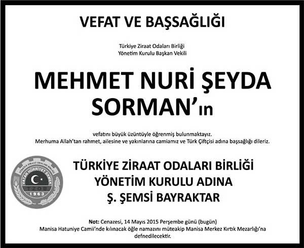 MEHMET NURİ ŞEYDA SORMAN 14.05.2015