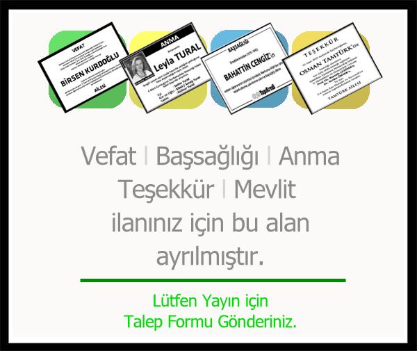 Gülgün Üstündağ vefat ilan yayını
