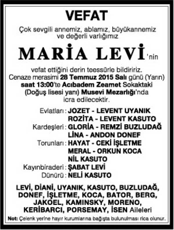 MARİA LEVİ 27.07.2015 HÜRRİYET GAZETESİ VEFAT İLANI
