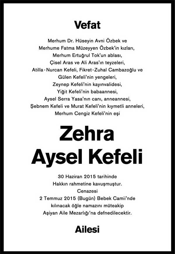 ZEHRA AYSEL KEFELİ 02.07.2015 HÜRRİYET VEFAT İLANI