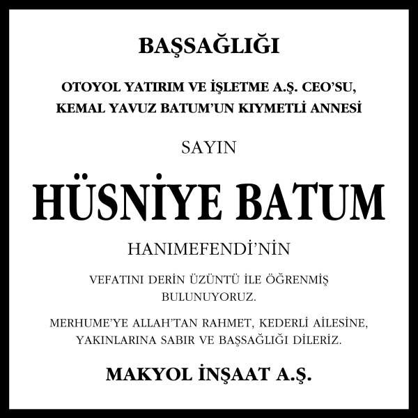 Sn. Hüsniye Batum Başsağlığı ilanı