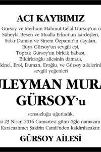 Süleyman Murat Gürsoy vefat ilanı