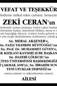 Sn. Zeki Ceran Sözcü Gazetesi Vefat ve Teşekkür ilanı