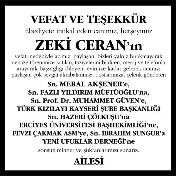 Zeki Ceran Sözcü Gazetesi Vefat ve Teşekkür ilanı