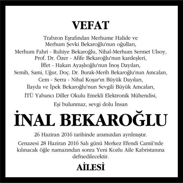 inal bekaroğlu hürriyet gazetesi vefat ilanı