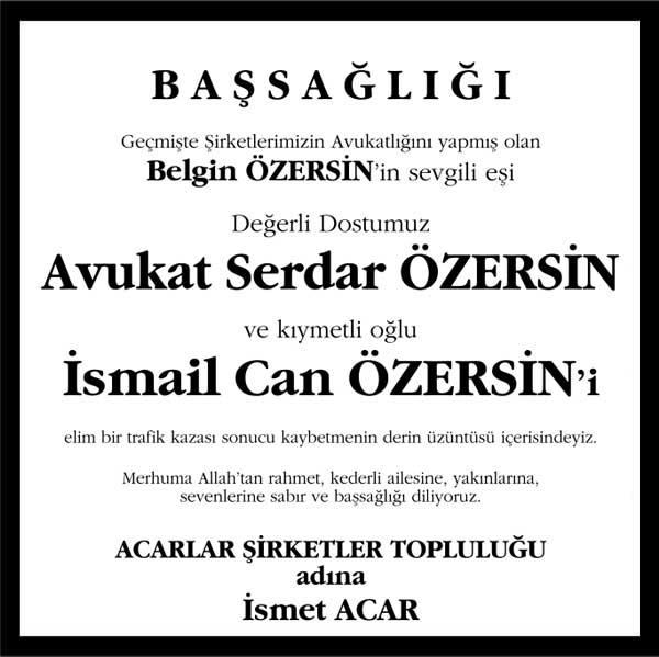 Serdar Özersin ve İsmail Can Özersin hürriyet gazetesi başsağlığı ilanı