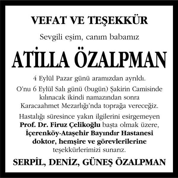 atilla özalpman hürriyet gazetesi vefat ve teşekkür ilanı