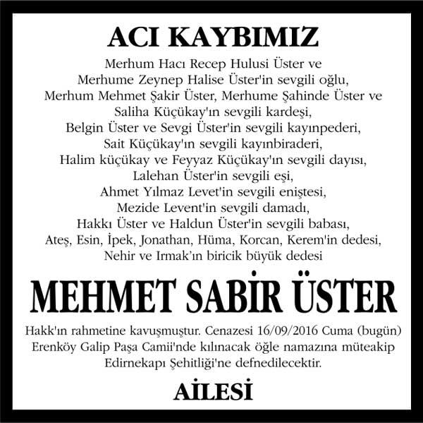 Mehmet Sabir Üster Vefat ilanı