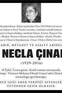 e. necla çınar hürriyet gazetesi vefat ilanı