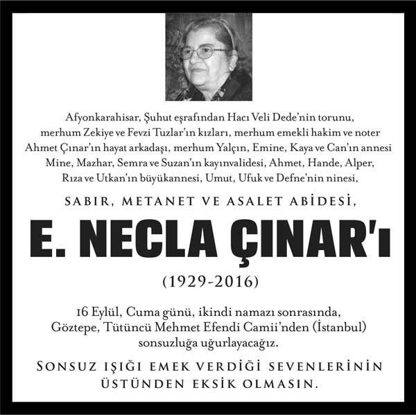 E. Necla Çınar Vefat ilanı