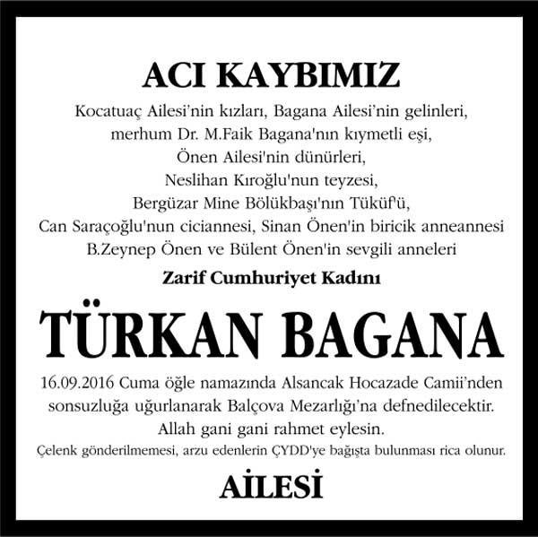 türkan bagana hürriyet gazetesi vefat ilanı