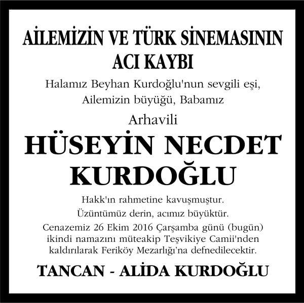 hüseyin necdet kurdoğlu hürriyet gazetesi vefat ilanı
