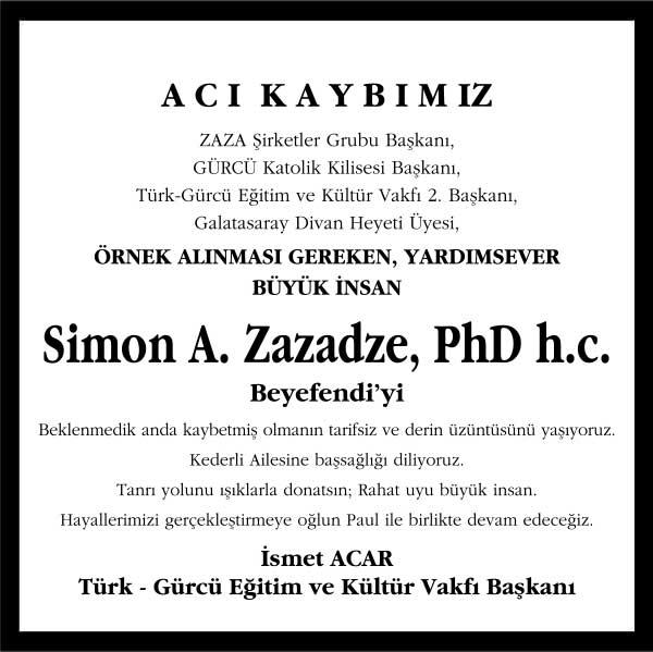 Simon A. Zazadze Başsağlığı ilanı