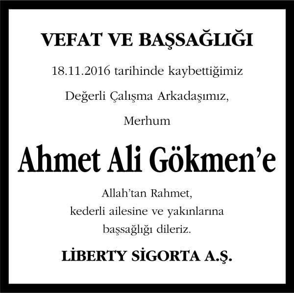 ahmet ali gökmen hürriyet gazetesi başsağlığı ilanı