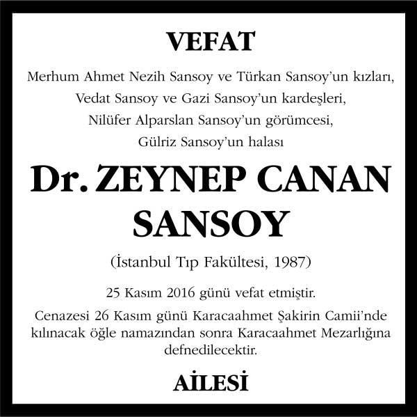 Dr. Zeynep Canan Sansoy Hürriyet Gazetesi Vefat ilanı
