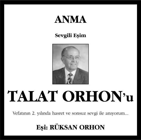 talat orhon hürriyet gazetesi anma ilanı