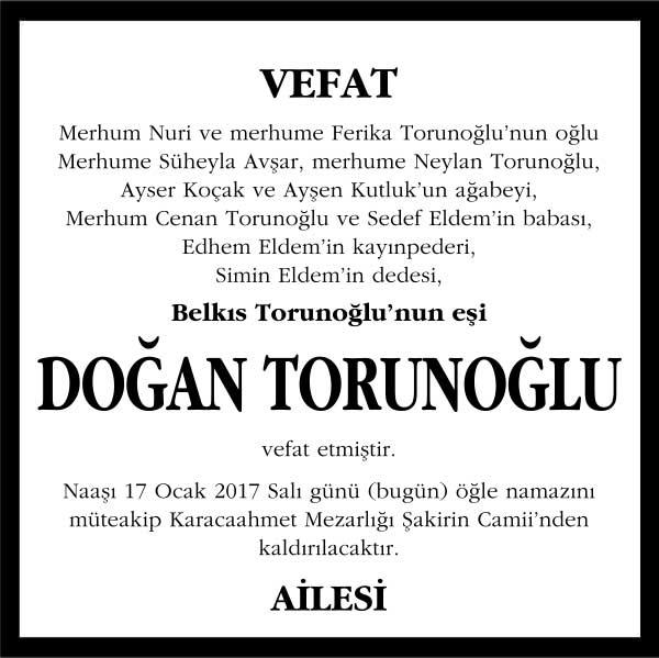 doğan torunoğlu milliyet gazetesi vefat ilanı