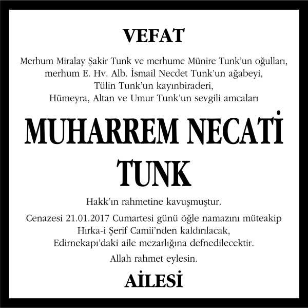 sn. muherrem necati tunk hürriyet gazetesi vefat ilanı