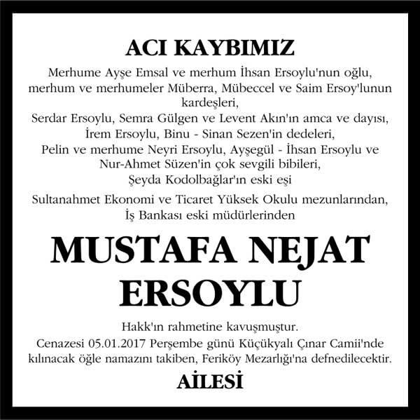 mustafa nejat ersoylu hürriyet gazetesi vefat ilanı