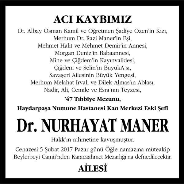 Nurhayat Maner Hürriyet Gazetesi Vefat ilanı