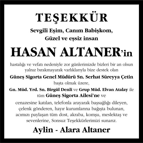 hasan altaner hürriyet gazetesi vefat ilanı