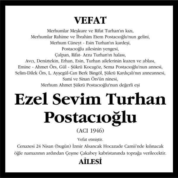 Ezel Sevim Turhan Postacıoğlu Hürriyet Gazetesi Vefat ilanı
