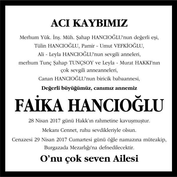 Faika Hancıoğlu Hürriyet Gazetesi Vefat ilanı
