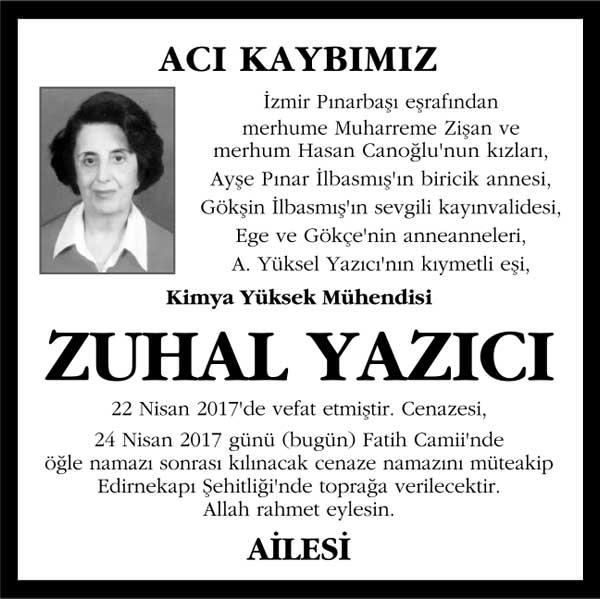 Zuhal Yazıcı Hürriyet Gazetesi Vefat ilanı