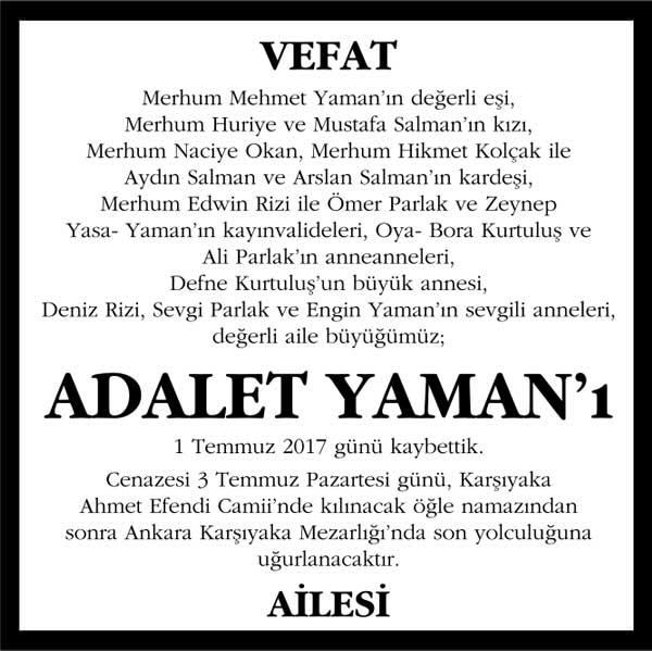 Adalet Yaman Hürriyet Gazetesi Vefat ilanı