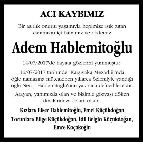 Adem Hablemitoğlu Hürriyet Gazetesi Vefat ilanı