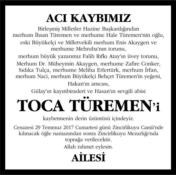 Toca Türemen Hürriyet Gazetesi Vefat ilanı