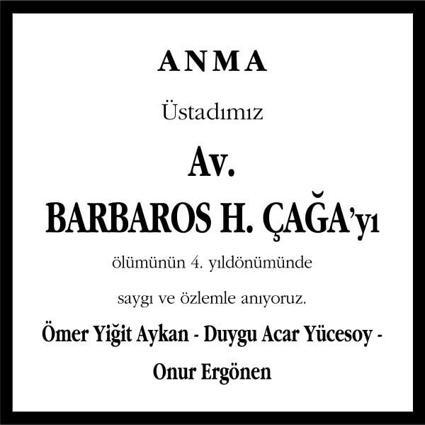 Barbaros Çağa Hürriyet Gazetesi Anma ilanı