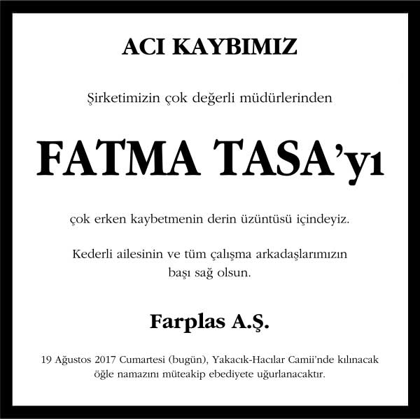 Fatma Tasa Vefat ilanı