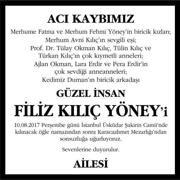 Filiz Kılıç Yöney Sözcü Gazetesi Vefat ilanı