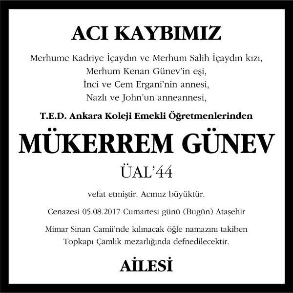 Mükerrem Günev Hürriyet Gazetesi Vefat ilanı