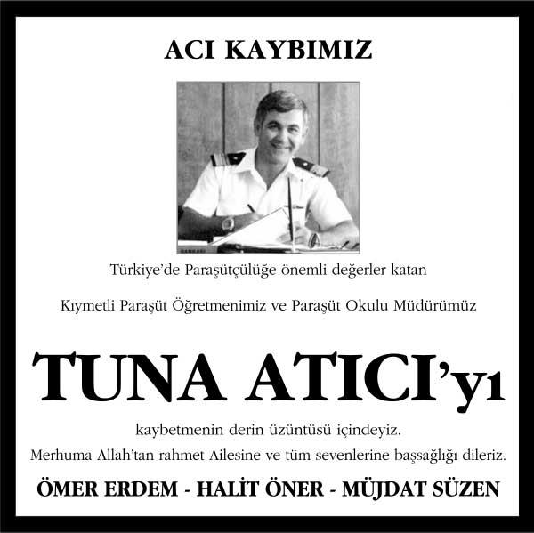 Tuna Atıcı Hürriyet Gazetesi Vefat ilanı