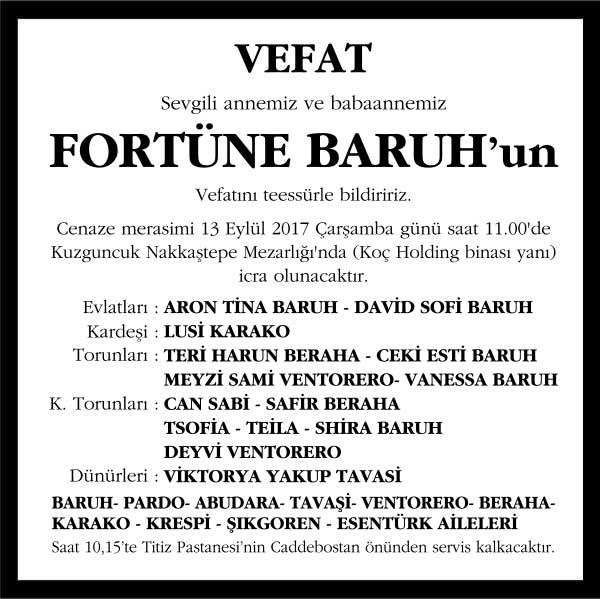 Fortüne Baruh Vefat ilanı