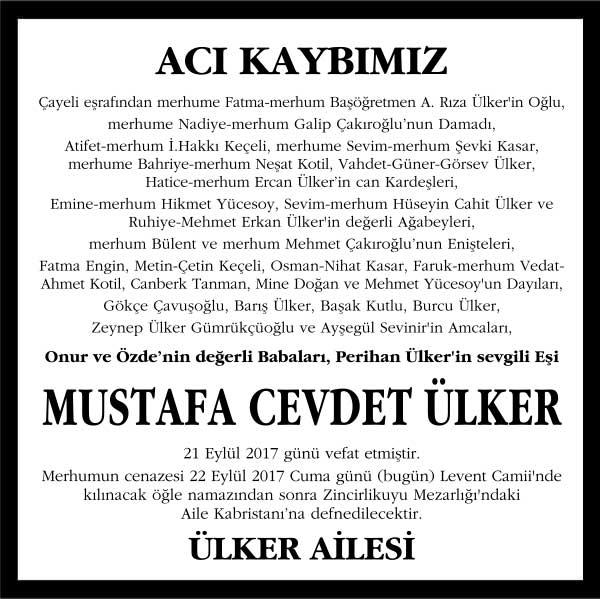 Mustafa Cevdet Ülker Hürriyet Gazetesi Vefat ilanı