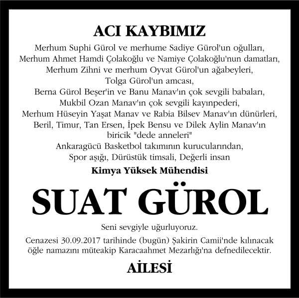 Suat Gürol Hürriyet Gazetesi Vefat ilanı