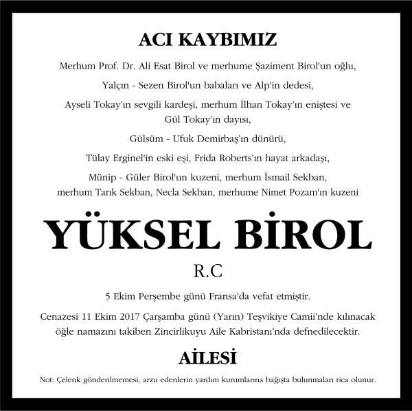 Yüksel Birol Hürriyet Gazetesi Vefat ilanı