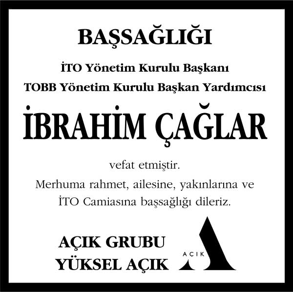 İbrahim Çağlar Hürriyet Gazetesi Başsağlığı ilanı