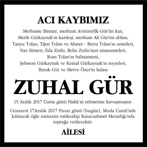 Zuhal Gür Hürriyet Gazetesi Vefat ilanı