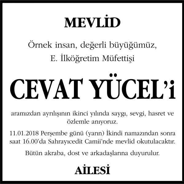 Cevat Yücel hürriyet gazetesi anma ilanı