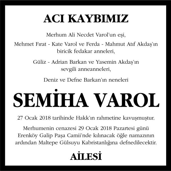 Semiha Varol Vefat ilanı
