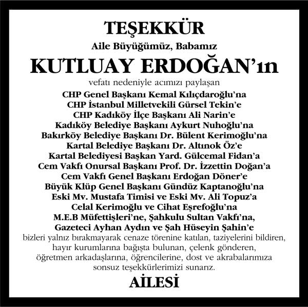 Kutluay Erdoğan Hürriyet Gazetesi Teşekkür ilanı