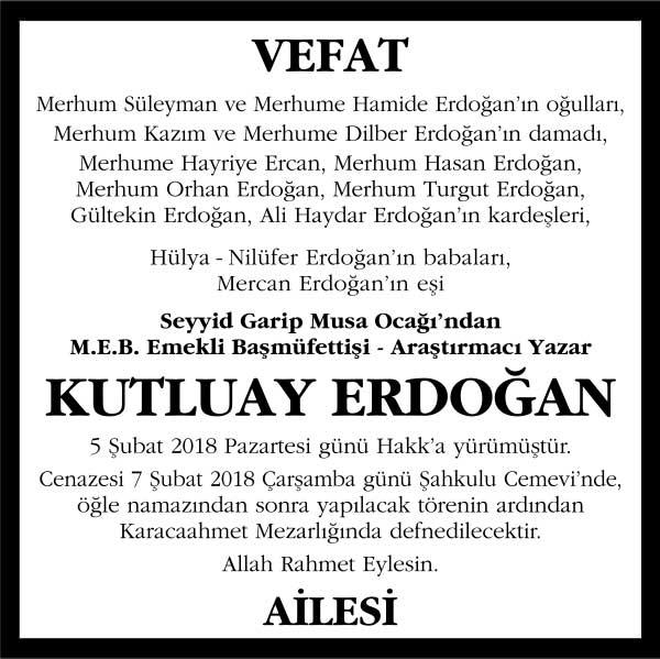 Kutluay Erdoğan Vefat ilanı