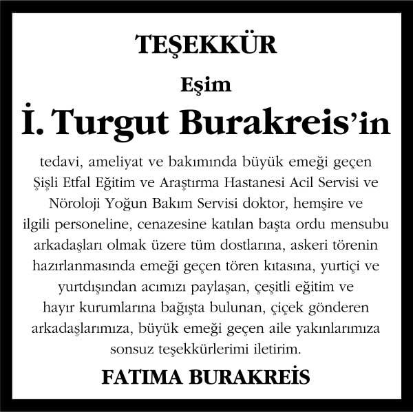 İ. Turgut Burakreis Hürriyet Gazetesi Vefat Teşekkür ilanı