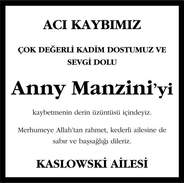 Anny Manzini Hürriyet Gazetesi Başsağlığı ilanı