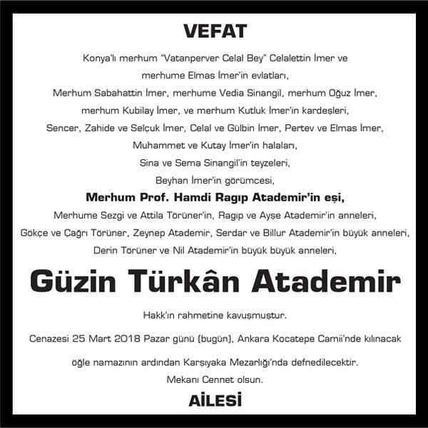 Güzin Türkan Atademir Milliyet Gazetesi Vefat ilanı